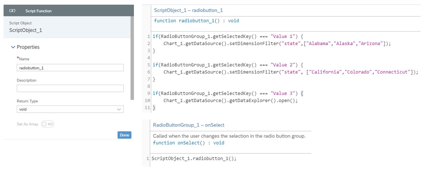 SAC Application Designer - Script Editor