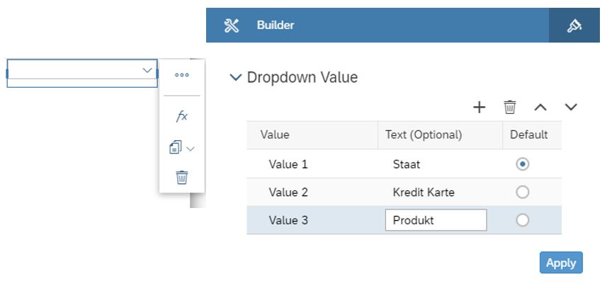 SAC Application Designer - Dropdown Konfiguration