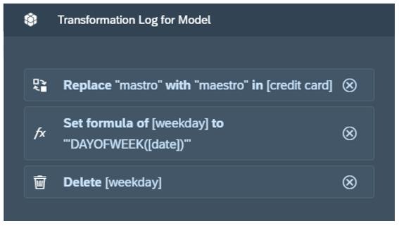 SAC Model - Transformation Log im Modeller